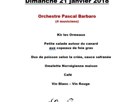 Prochain Thé Dansant Dimanche 21 janvier 2018