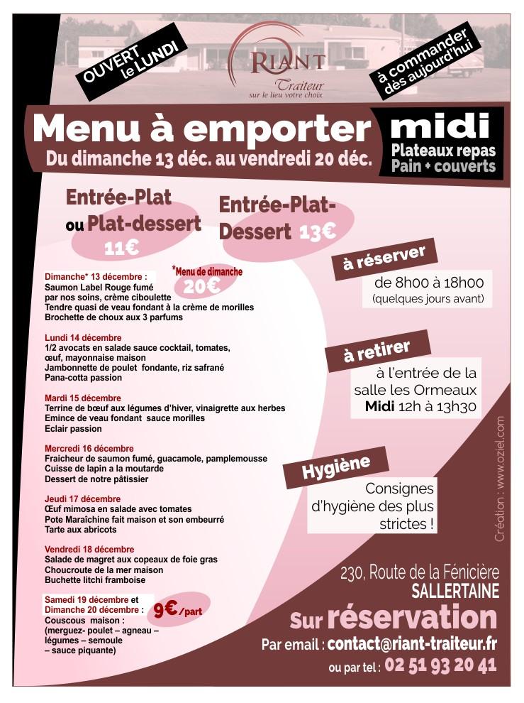 Menu à emporter Riant Traiteur à Sallertaine en Vendée