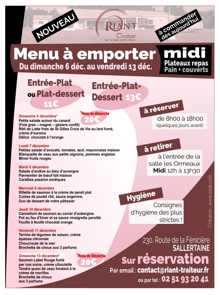 Plat et menu à emporter riant traiteur sallertaine challans 6 au 13 décembre 2020