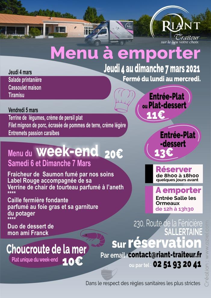 Menu à emporter pour la semaine du 4 au 7 mars 2021 Riant Traiteur en Vendée