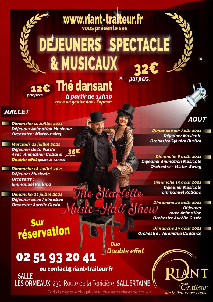 Déjeuners spectacles et thés dansants juillet et août 2021, sallertaine et challans en Vendée